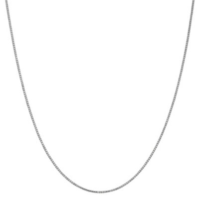 14K White Gold Solid Box 14 Inch Chain Necklace