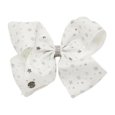 JoJo Siwa Signature White Bow With Star Rhinestones And Rhinestone Keeper Bow