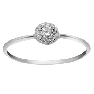Itsy Bitsy Itsy Bitsy Womens Clear Sterling Silver Cocktail Ring