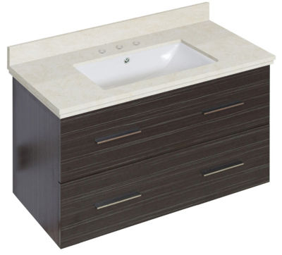 36-in. W Wall Mount Dawn Grey Vanity Set For 3H8-in. Drilling Beige Top White UM Sink