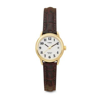 Timex® Womens Leather Croco Strap Watch