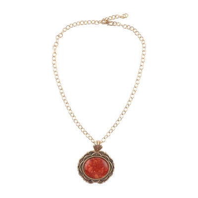 Artsmith By Barse Womens Genuine Red Sponge Coral Oval Pendant Necklace