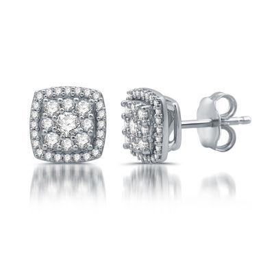 Diamond Blossom 1/2 CT. T.W. White Diamond 10K White Gold Stud Earrings