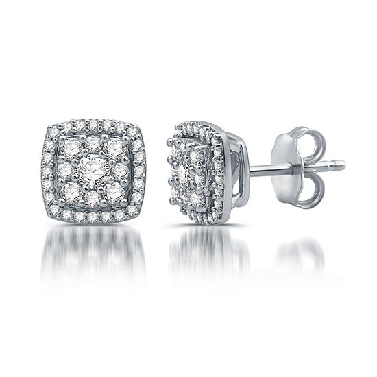 Diamond Blossom 1/2 CT. T.W. Genuine White Diamond 10K White Gold Stud Earrings