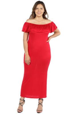 24/7 Comfort Apparel Long Cool Woman Off the Shoulder Dress - Plus