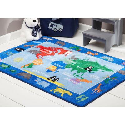 Eric Carle Elementary World Map Graphic/Print Rectangular Rug