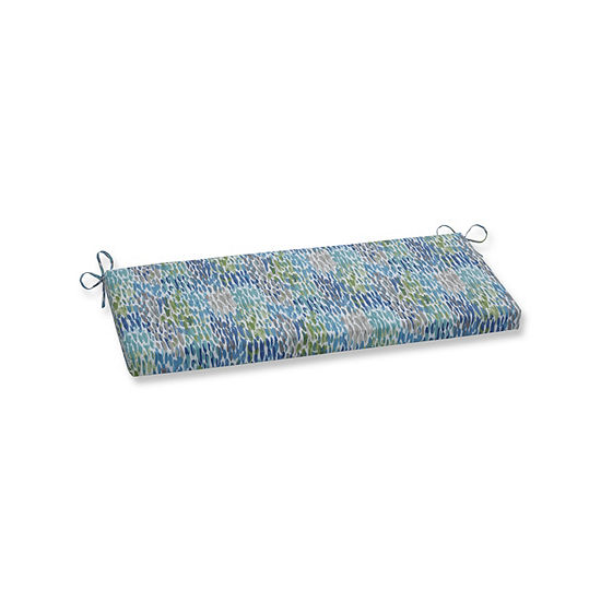 Pillow Perfect Make It Rain Cerulean Patio Bench Cushion