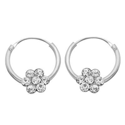 Itsy Bitsy Crystal 13.6mm Flower Hoop Earrings