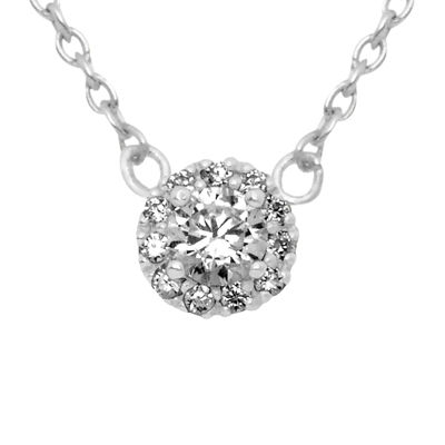 Itsy Bitsy Itsy Bitsy Womens Clear Cubic Zirconia Sterling Silver Pendant Necklace
