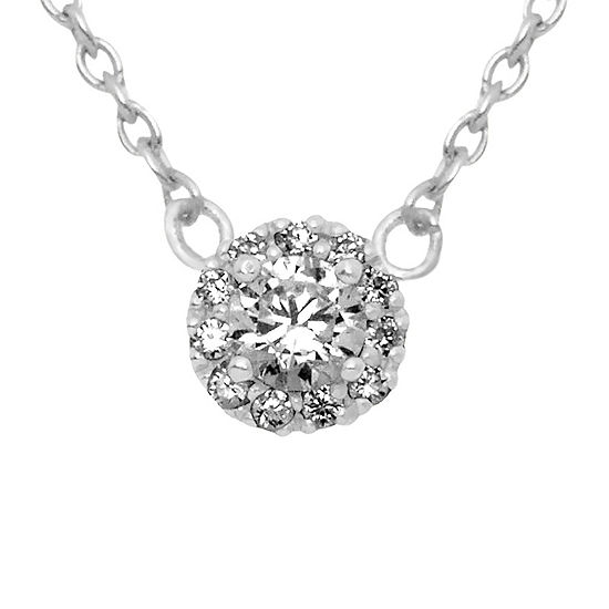 Itsy Bitsy Womens Clear Cubic Zirconia Sterling Silver Pendant Necklace