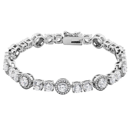 Diamonart Lab Created White Cubic Zirconia Sterling Silver 7.25 Inch Tennis Bracelet