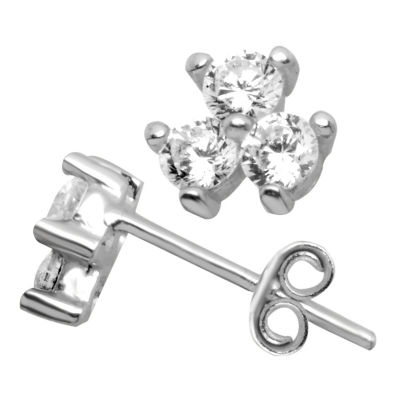 Itsy Bitsy Itsy Bitsy Clear Sterling Silver 6.4mm Stud Earrings