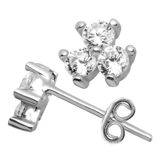 Itsy Bitsy Clear Sterling Silver 6.4mm Stud Earrings