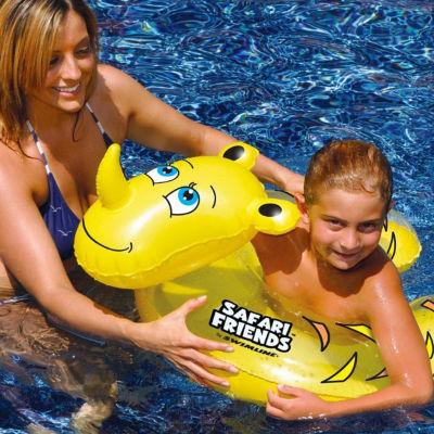 "24"" Water Sports Safari Friends Inflatable Yellow Rhino Split Ring Swimming Pool Child Float"