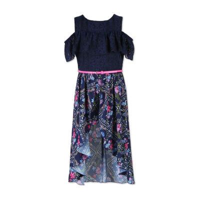 Knit Works Short Sleeve Cold Shoulder Sleeve Skater Dress Girls