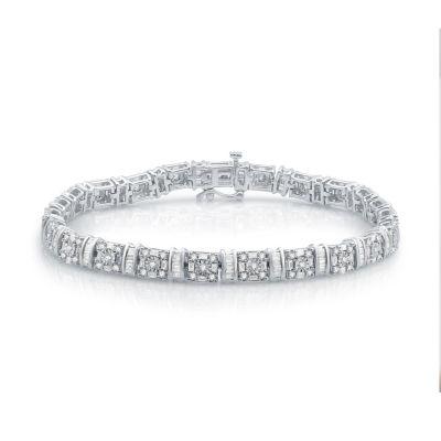 3 CT. T.W. Genuine White Diamond 10K White Gold Tennis Bracelet