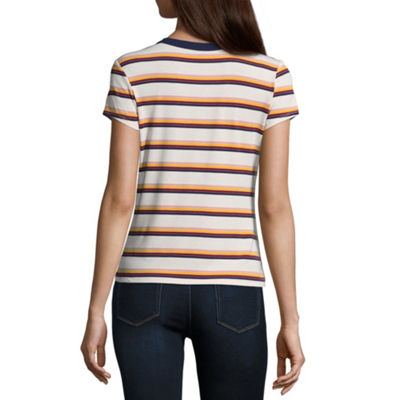 Arizona Short Sleeve Crew Neck Stripe T-Shirt-Womens Juniors