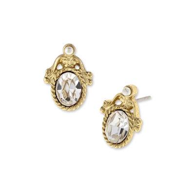 1928 Vintage Inspirations Clear Brass Oval Stud Earrings