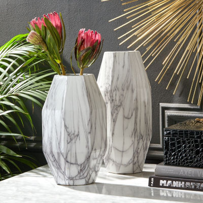 Two's Company Set Of 2 White Faux Carrara Marble Vases