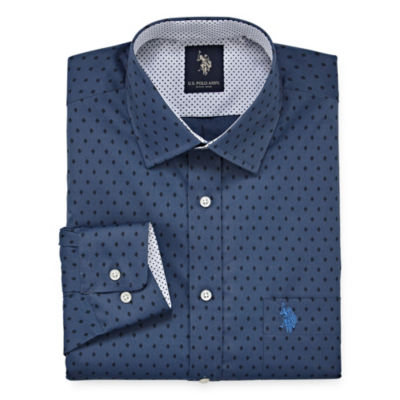 U.S. Polo Assn. Dress Shirt Long Sleeve Geometric Dress Shirt - Slim
