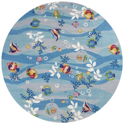 Kas Tropical Fish Hooked Round Indoor Area Rug