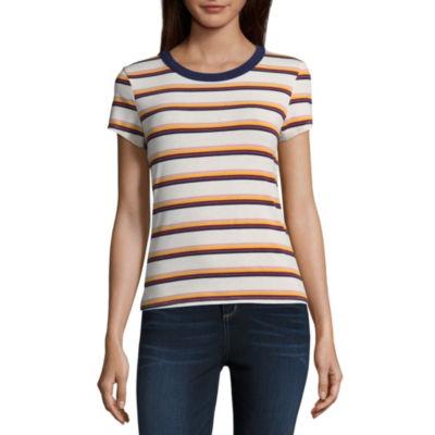 Arizona-Womens Crew Neck Short Sleeve T-Shirt Juniors