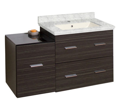 37.75-in. W Wall Mount Dawn Grey Vanity Set For 1Hole Drilling Bianca Carara Top Biscuit UM Sink