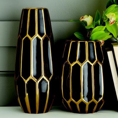 Two's Company Set Of 2 Black Vases