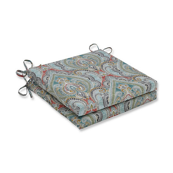 Pillow Perfect Set of 2 Pretty Witty Reef Oversized Squared Corners Patio Seat Cushion