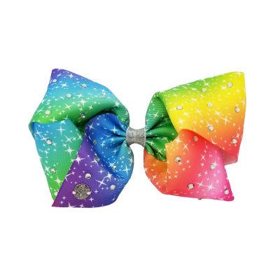 JoJo Siwa Signature Pastel Rainbow Bow With Rhinestones and Small Stones