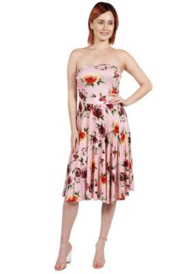 24Seven Comfort Apparel Nina Pink and Blue FloralSide Slit Dress - Plus