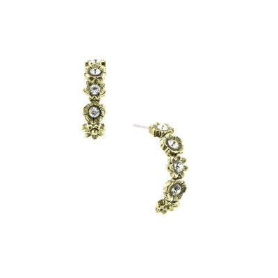 1928 Vintage Inspirations Clear Brass Hoop Earrings