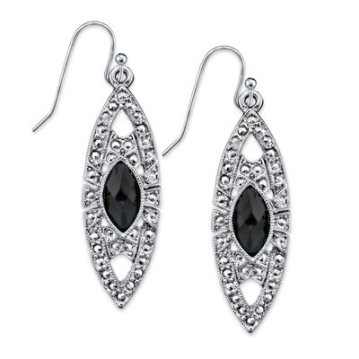 1928 Vintage Inspirations Black Drop Earrings