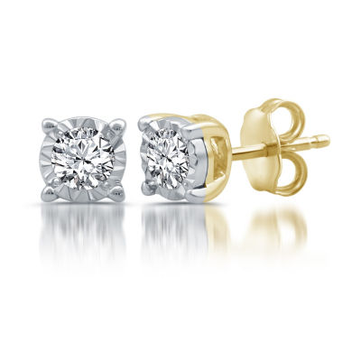 1/3 CT. T.W. Genuine White Diamond 14K Gold Stud Earrings