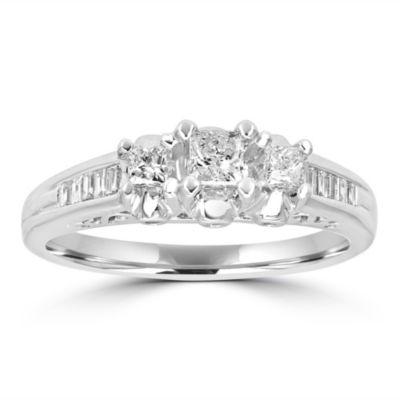 Love Lives Forever Womens 1/2 CT. T.W. Genuines White Diamond 14K White Gold 3-Stone Engagement Ring
