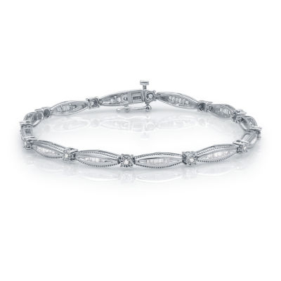 1 CT. T.W. Genuine White Diamond 10K White Gold Tennis Bracelet
