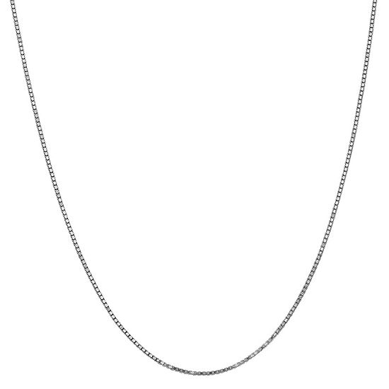 14K White Gold 14 Inch Solid Box Chain Necklace