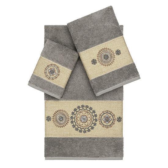 Linum Home Textiles 100 Turkish Cotton Isabelle 3pc Embellished Towel Set