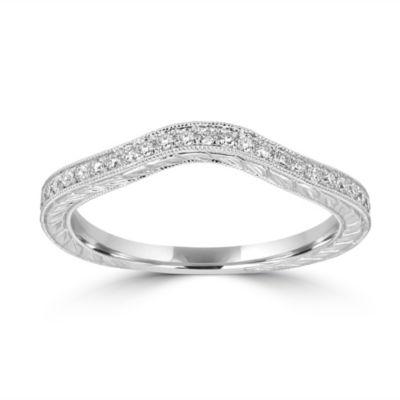 Womens 2mm 1/5 CT. T.W. Genuine White Diamond 14K White Gold Band
