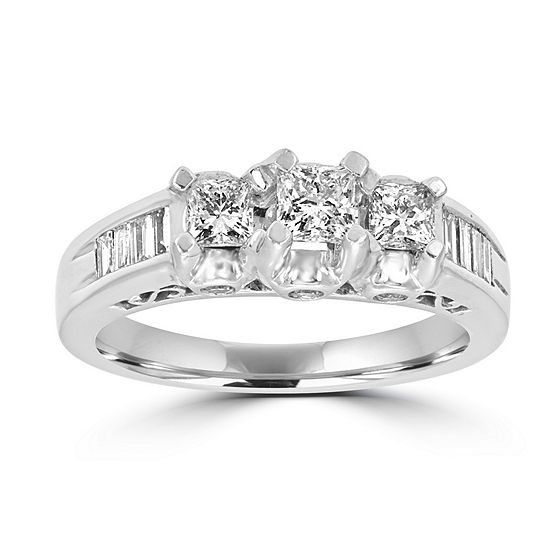 Love Lives Forever Womens 1 CT. T.W. Genuine White Diamond 14K White Gold 3-Stone Engagement Ring
