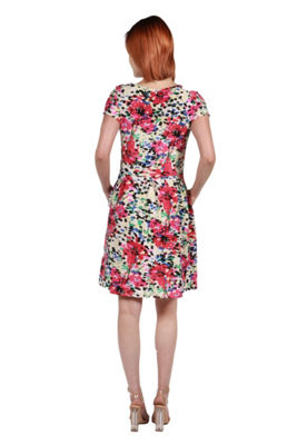 24Seven Comfort Apparel Ellie Black and Red Multicolor Empire Waist Mini Dress - Plus
