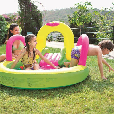 """57"""" Bright Green Yellow and Pink Inflatable Children's Pool with Slide"""