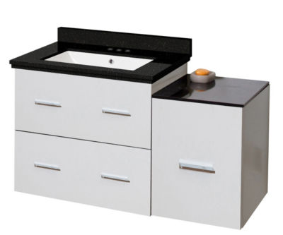 37.75-in. W Wall Mount White Vanity Set For 3H4-in. Drilling Black Galaxy Top White UM Sink