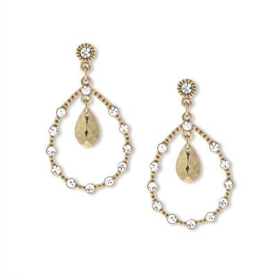 1928 Vintage Inspirations Clear Brass Oval Hoop Earrings