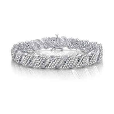 5 CT. T.W. Genuine White Diamond 10K White Gold Tennis Bracelet