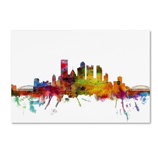 Trademark Fine Art Michael Tompsett Pittsburgh Pennsylvania Skyline Giclee Canvas Art