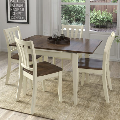 CorLiving Dillon 5pc Extendable Rectangular Dark Brown and Cream Solid Wood Dining Set