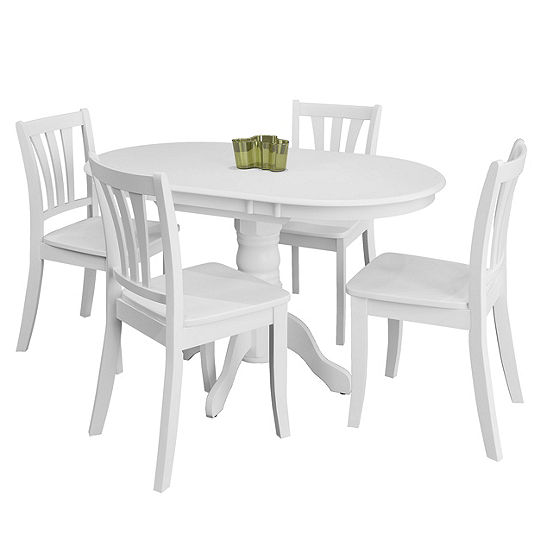 CorLiving Dillon 5pc Extendable Oval White Wooden Dining Set