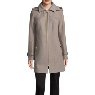 Liz Claiborne Woven Hooded Midweight Overcoat