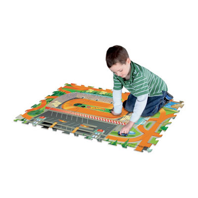 Hot Wheels 6 Pc Mega Floor Mat With Vehicle